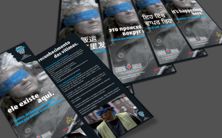 Information brochure for the Government of Canada regarding human trafficking typeset into 6 languages (Portuguese, Punjabi, Russian, Simplified Chinese, Spanish, and Tagalog).